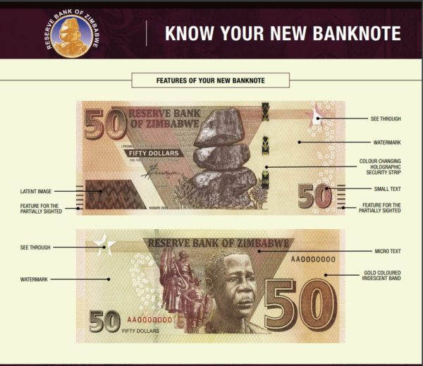 Introduction of ZW$50 banknotes in Zimbabwe